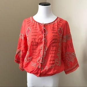 🌱Free People Coral Embroidered Boho Top Blouse